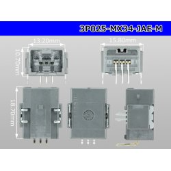 Photo3: ■[JAE] MX34 series 3 pole  Male terminal side coupler - Male terminal integrated type - Angle pin header type