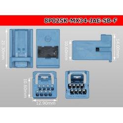 Photo3: [JAE] MX34 series 8 pole  [color Sky blue] F Connector only  (No terminal) /8P025-MX34-JAE-SB-F-tr