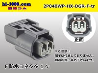 040 Type HX /waterproofing/  series  2 poles  Rib different type  [color Dark gray]  Female side  Connector only  (No terminal) /2P040WP-HX-DGR-F-tr