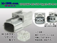 090 Type RS /waterproofing/  series  2 poles M Connector only  (No terminal)  STANDARD Type2  [color Light gray] /2P090WP-RS-STD-Type2-GY-M-tr